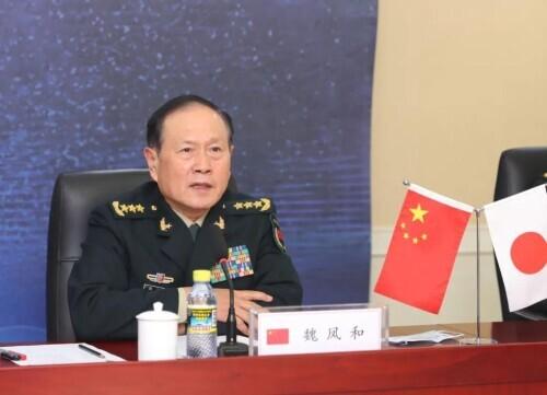 12月14日下午,国务委员兼国防部长魏凤和同日本防卫大臣岸信夫视频通话。图为魏凤和在视频通话中发言。李晓伟摄