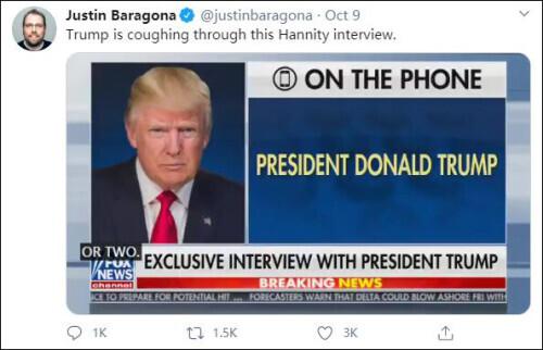 媒体曝特朗普曾多次停下来咳嗽